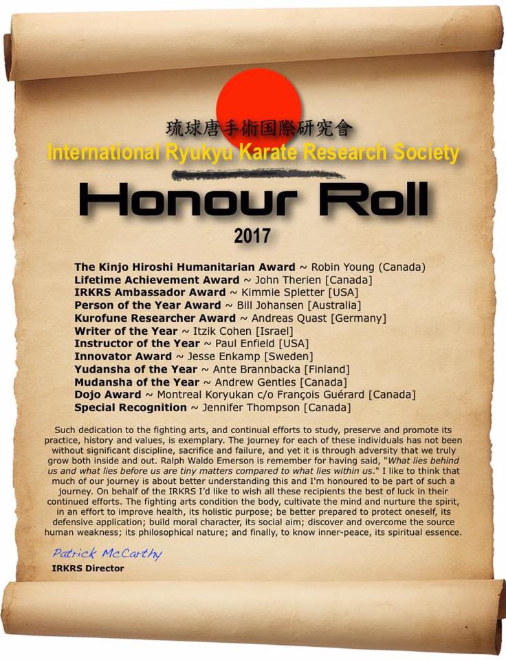 International Ryukyu Karate Research Society / Honour Roll - Writer of the year 2017